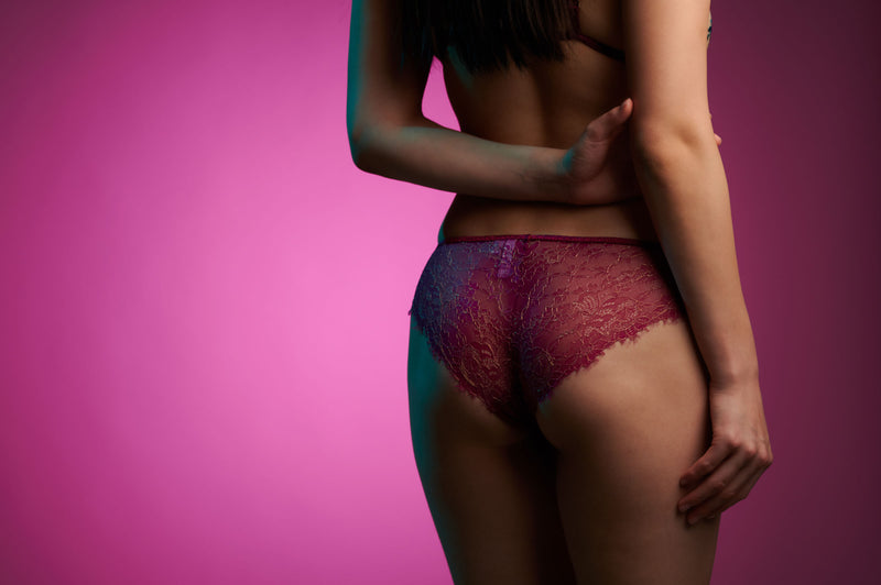 Ruby luxury knickers in magenta pink lace