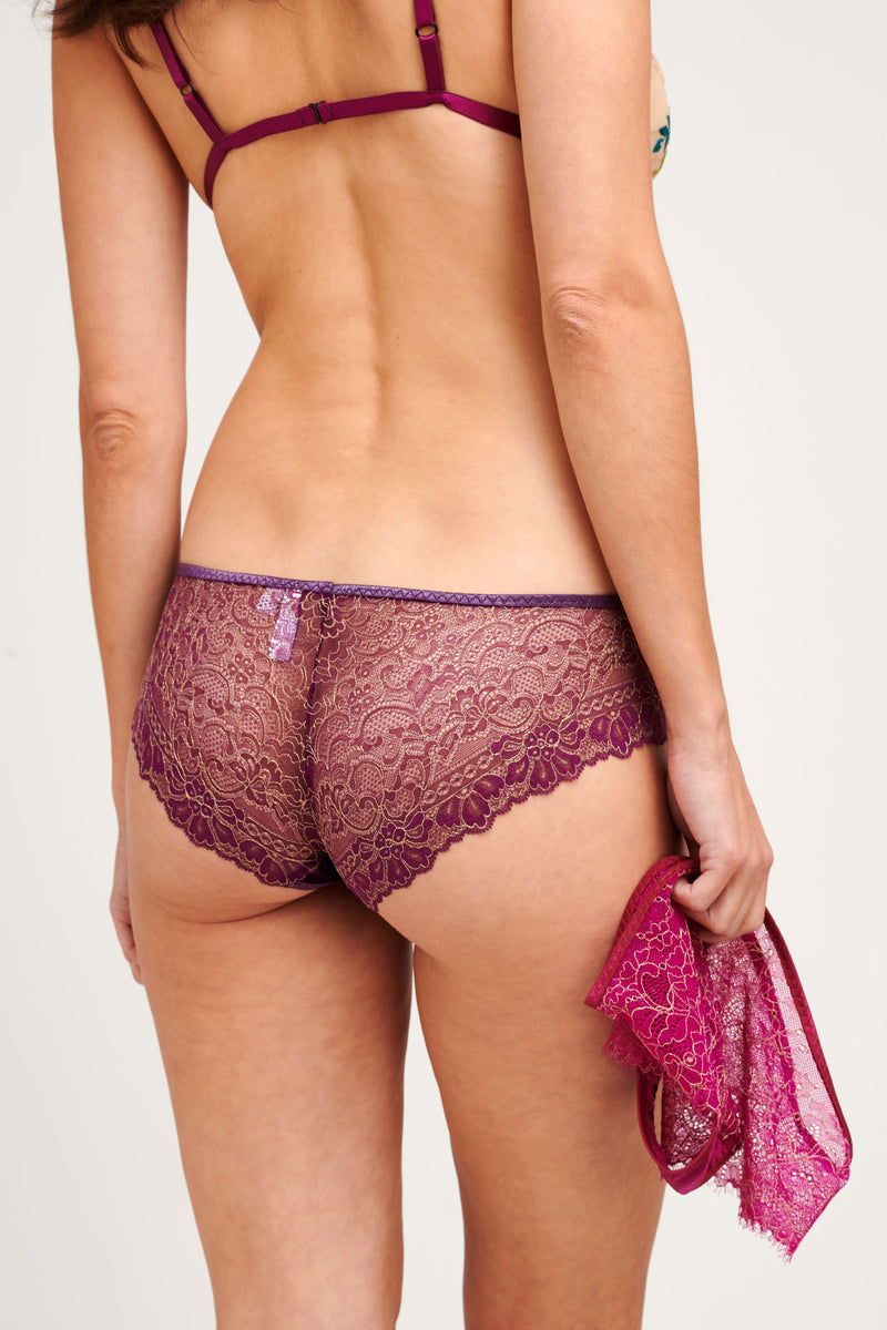 Aubergine purple lace knickers with gold scalloped threads