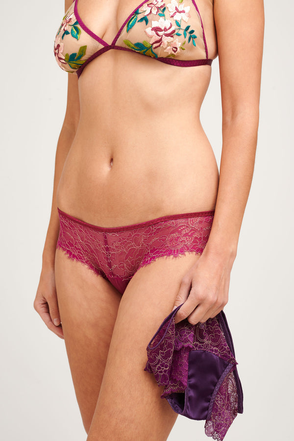 Pink and purple lace lingerie set with an embroidered bralette