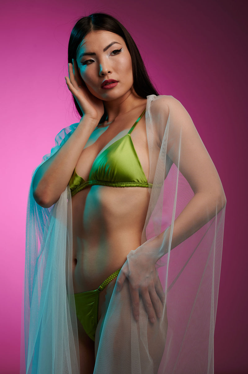 Shannon green silk lingerie set with satin thong panties