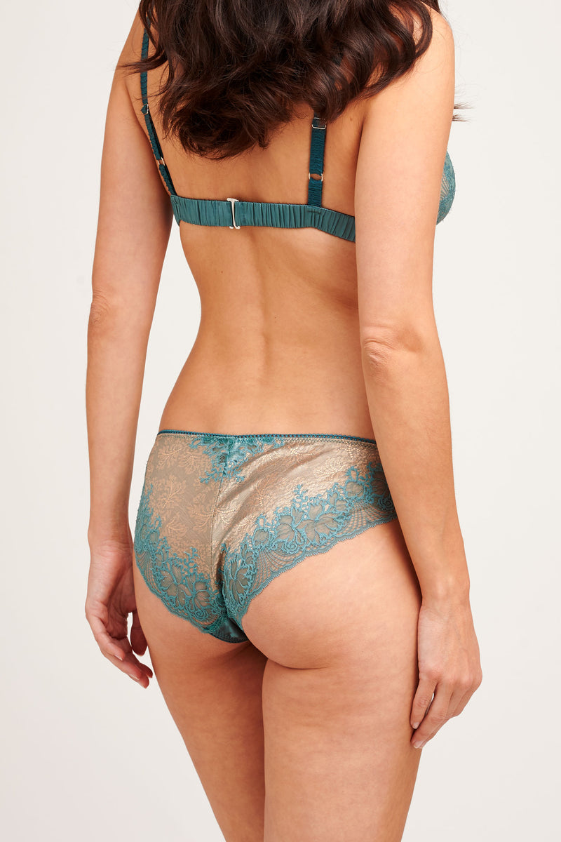 Vintage style bra and panty set in teal lace