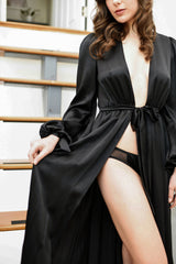 Old Hollywood dressing gown in black satin with silk underwear