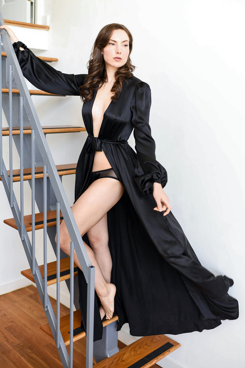 Vintage-inspired black robe, handmade of pure silk satin with bows