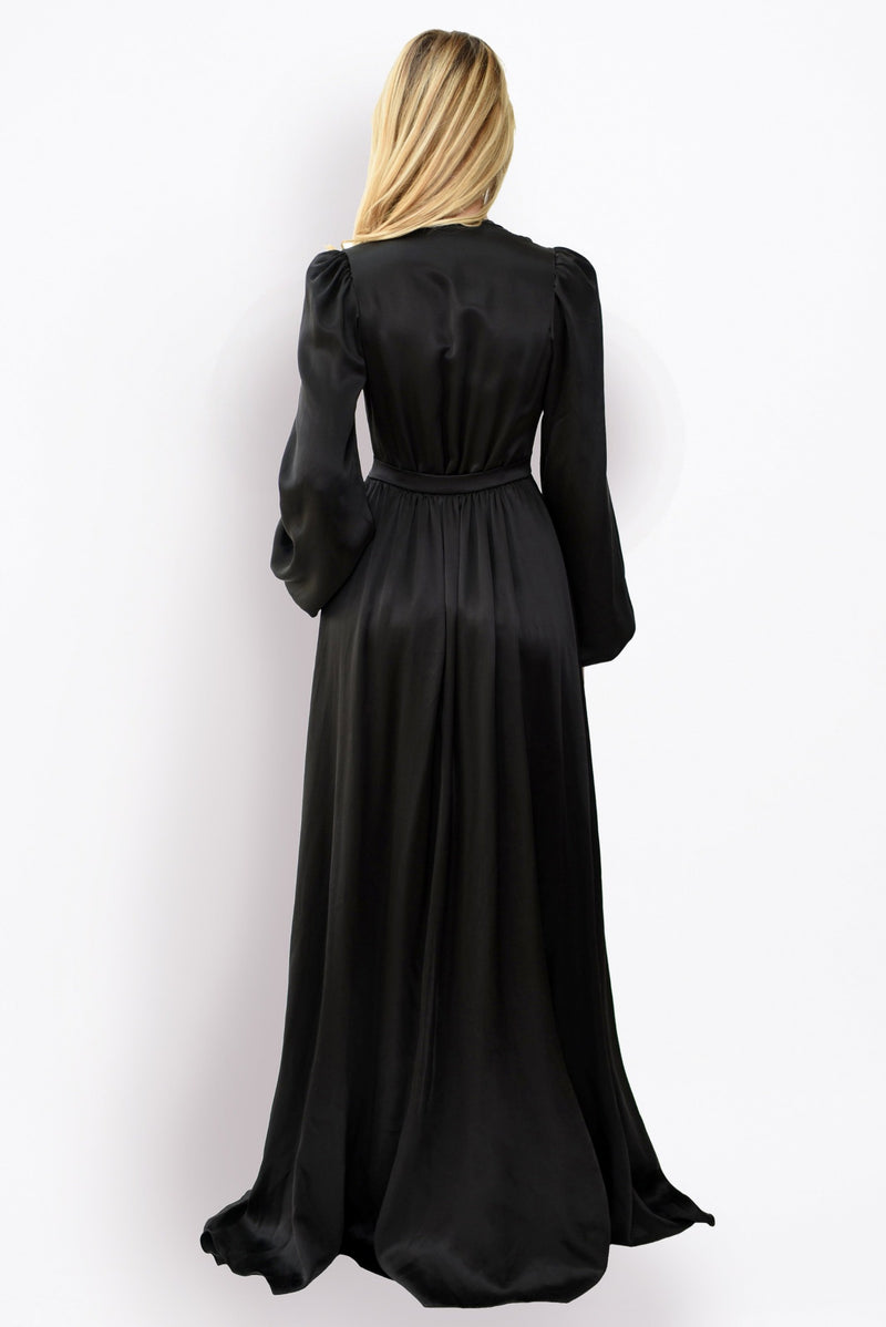 Designer Angela Friedman's Simone long dressing gown in black silk satin
