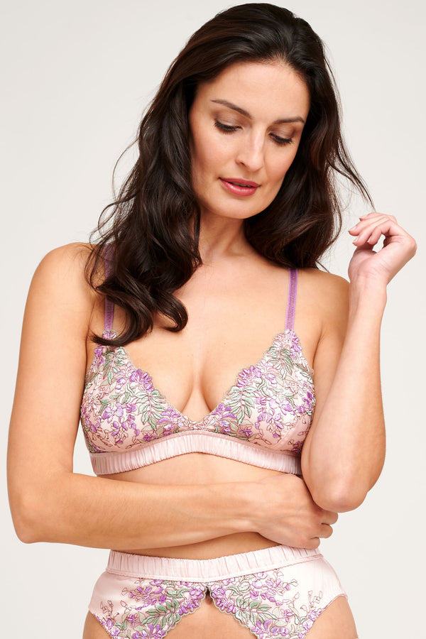 Wisteria embroidered floral silk bralette