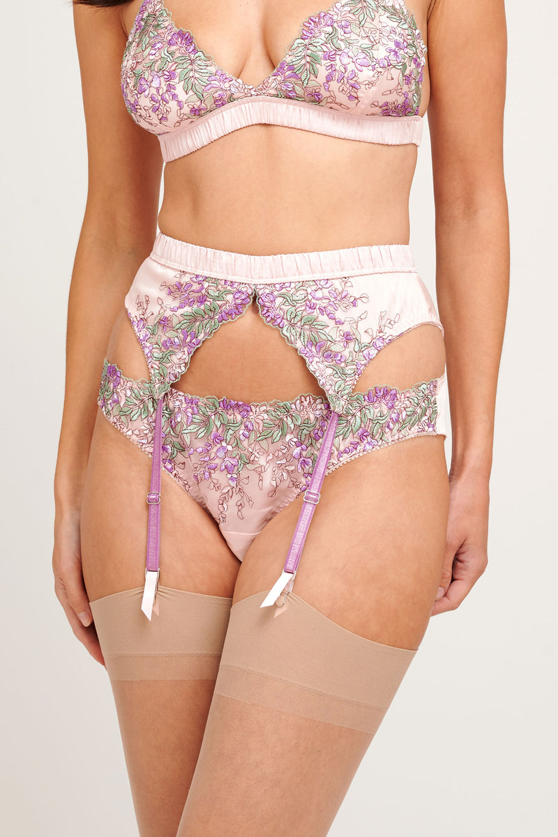 Wisteria embroidered pink silk knickers