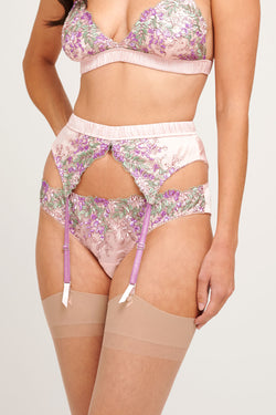 Wisteria embroidered silk suspender belt