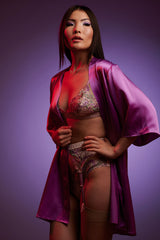 Luxury emboidered lingerie set in pink and purple with a silk kimono robe