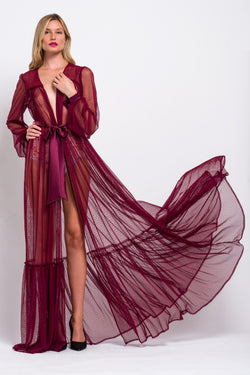 Retro, dotted net dressing gown with tulle ruffles and silk belt