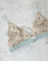 Designer silk and lace bralet with floral design and blue silk band and bows