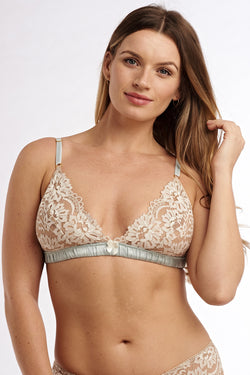 Marie Antoinette lace bralette by UK designer Angela Friedman