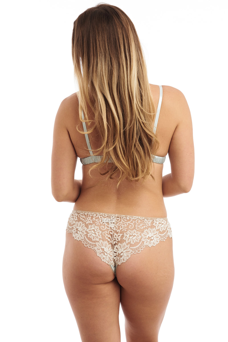 Blue silk and cream lace thong panties back