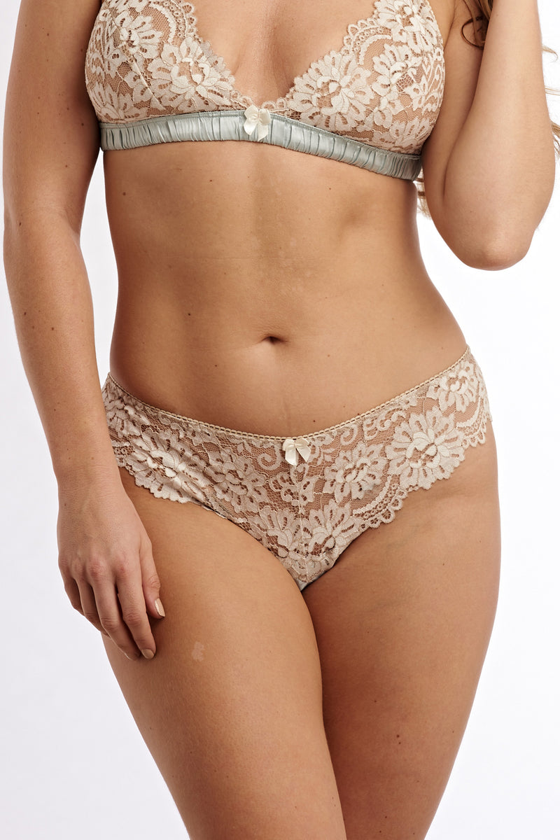 Angela Friedman lace knickers with silk trim and floral design