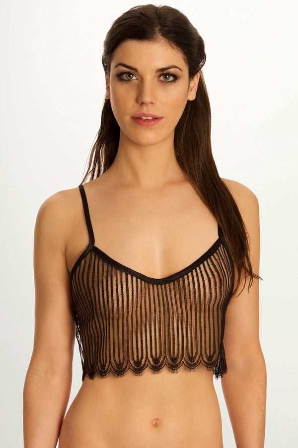 Sheer French lace camisole and black silk lounge wear set