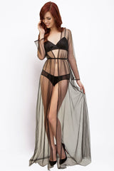 Black, vintage-style dressing gown in sheer tulle with a silk lingerie set