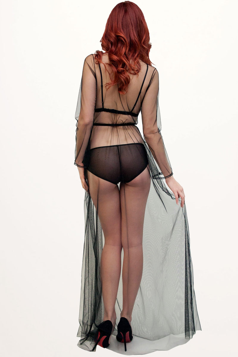 Long, sheer, vintage inspired dressing gown in black tulle mesh