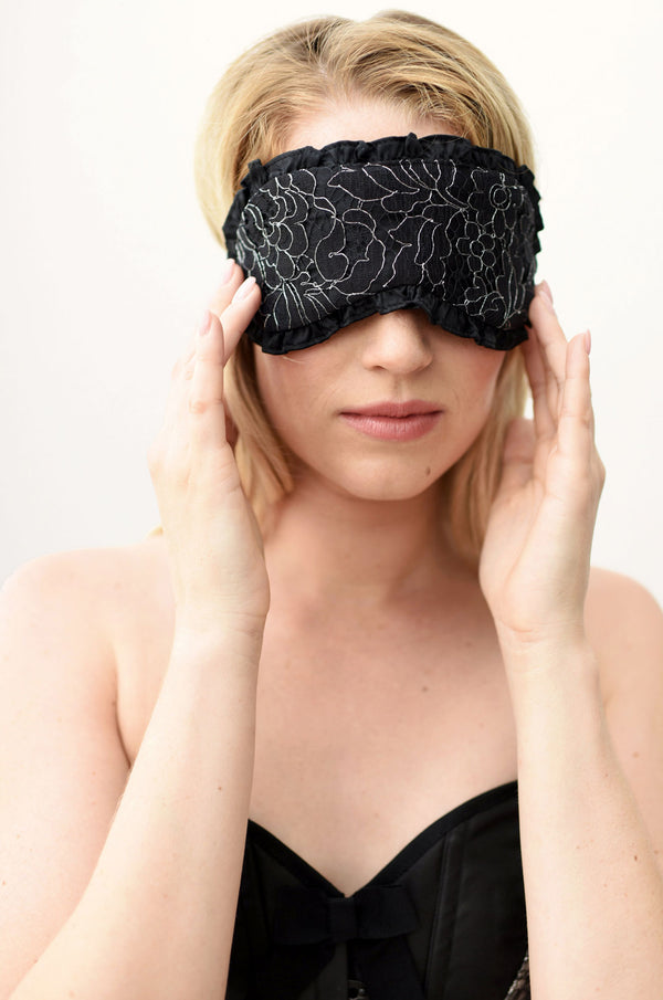 Black lace and 100% silk sleep mask by luxury designer Angela Friedman