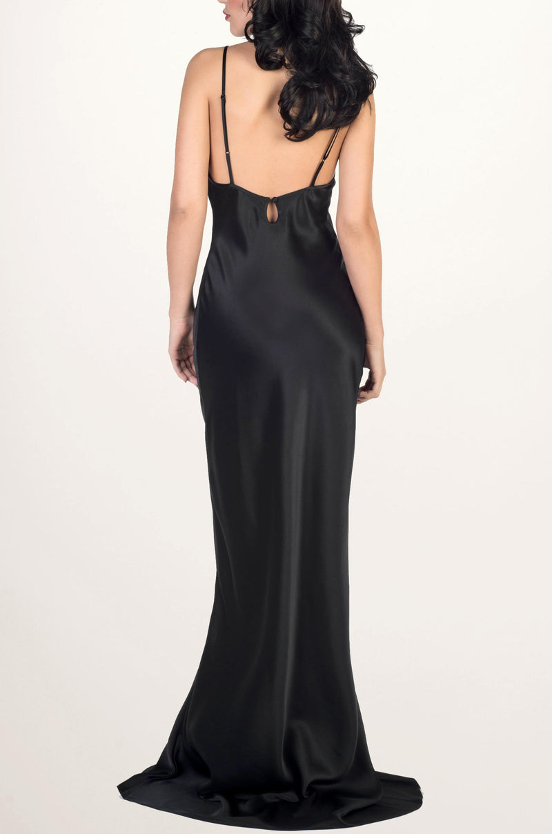 Black silk satin night gown by luxury designer Angela Friedman