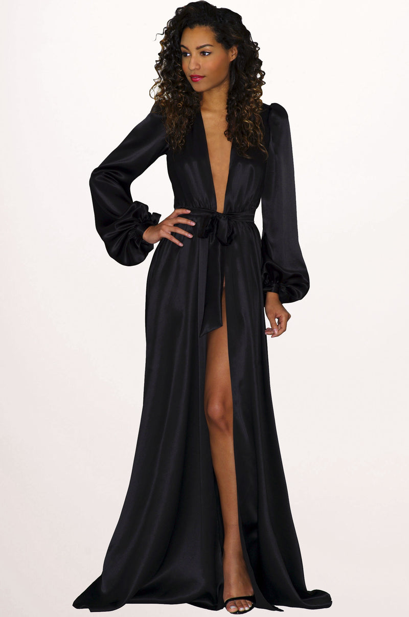 Old Hollywood style dressing gown in black silk satin