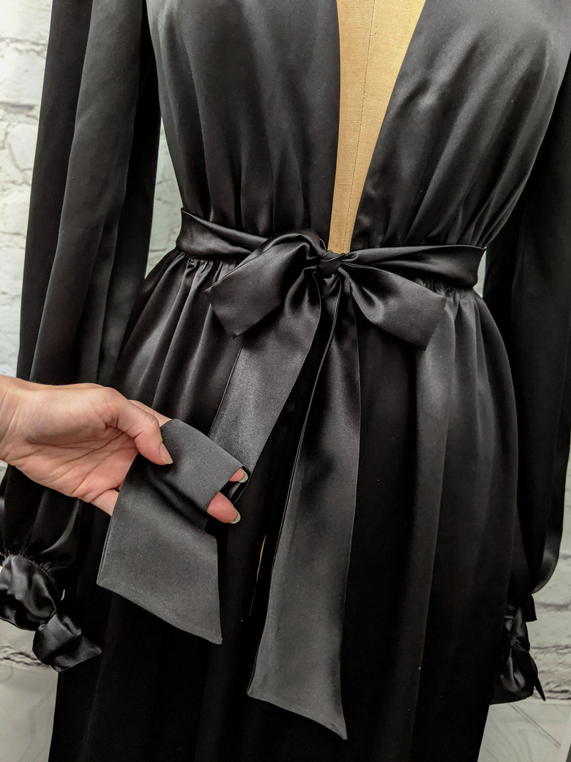 Black silk satin dressing gown in the Old Hollywood vintage style