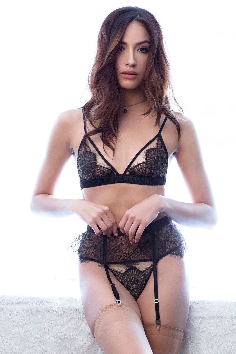 Designer black lace suspender belts online