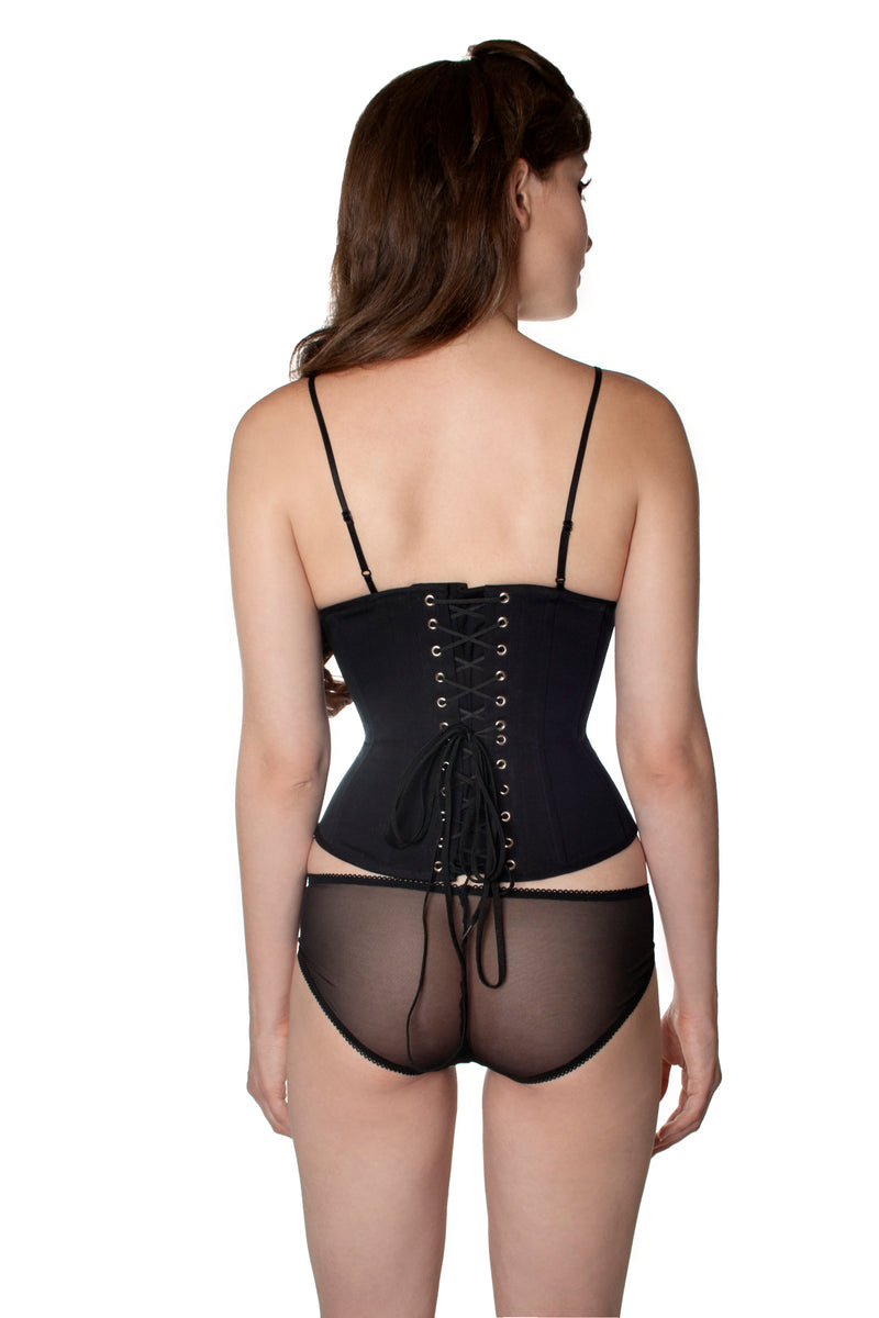 Angela Friedman black cotton underbust corset, waist training cinchers corsetry, steel boned made in UK GB England