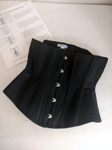 Steel boned authentic underbust corset, handmade in black cotton