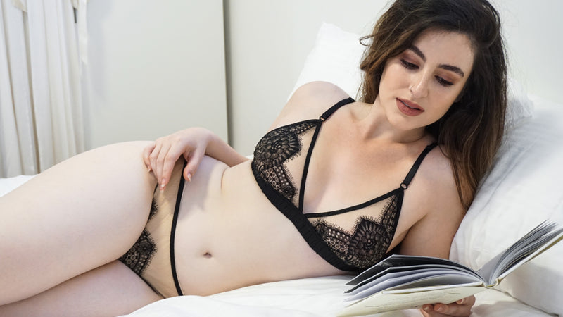 Black lace lingerie set with bralette and thong knickers