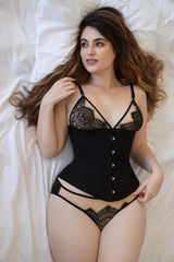Black cotton corset handmade in England
