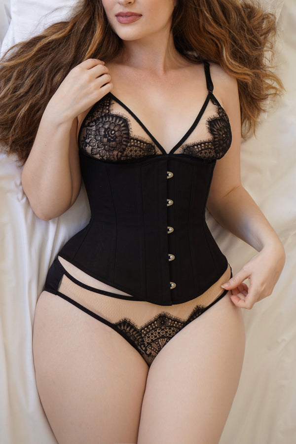 Black lace lingerie set and luxury underbust corset