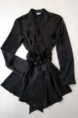 Handmade silk dressing gown in black satin