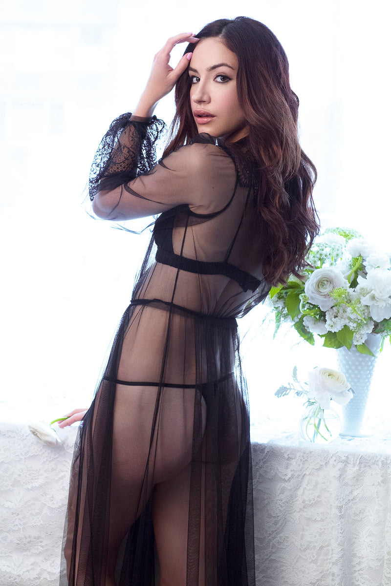 Sexy sheer lingerie with a long black negligee robe