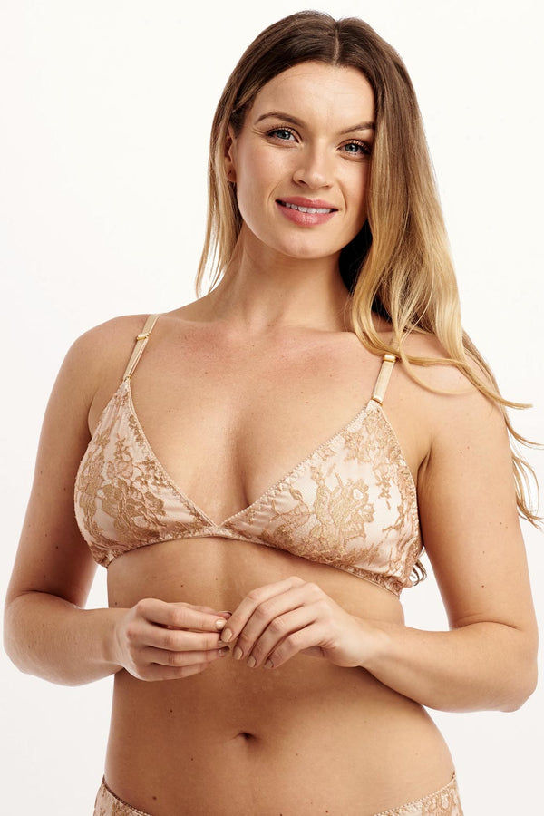 Luxury bralette in stretch silk and gold French lace