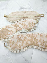 Blush pink sleepmasks in 100% silk with gold french lace and ruffles