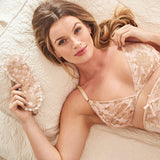 Pink sleep mask and bralette in 100% silk with gold french lace and ruffles