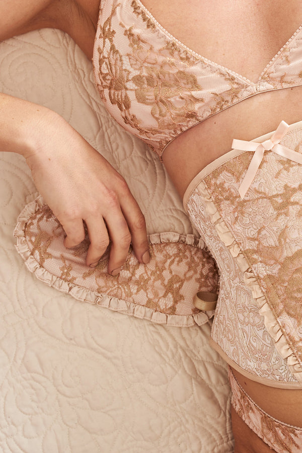 Luxury blush pink sleep mask and lingerie in 100% silk with gold french lace and ruffles