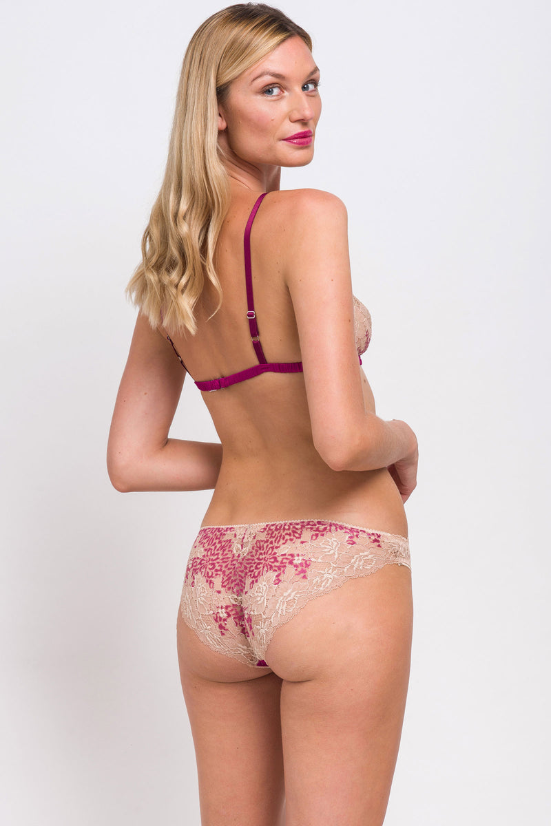 Magenta pink and beige lace lingerie set by designer Angela Friedman