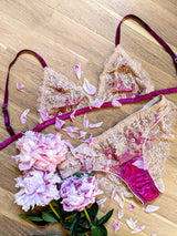 Fuchsia lace knickers with a silk bralette and flowers