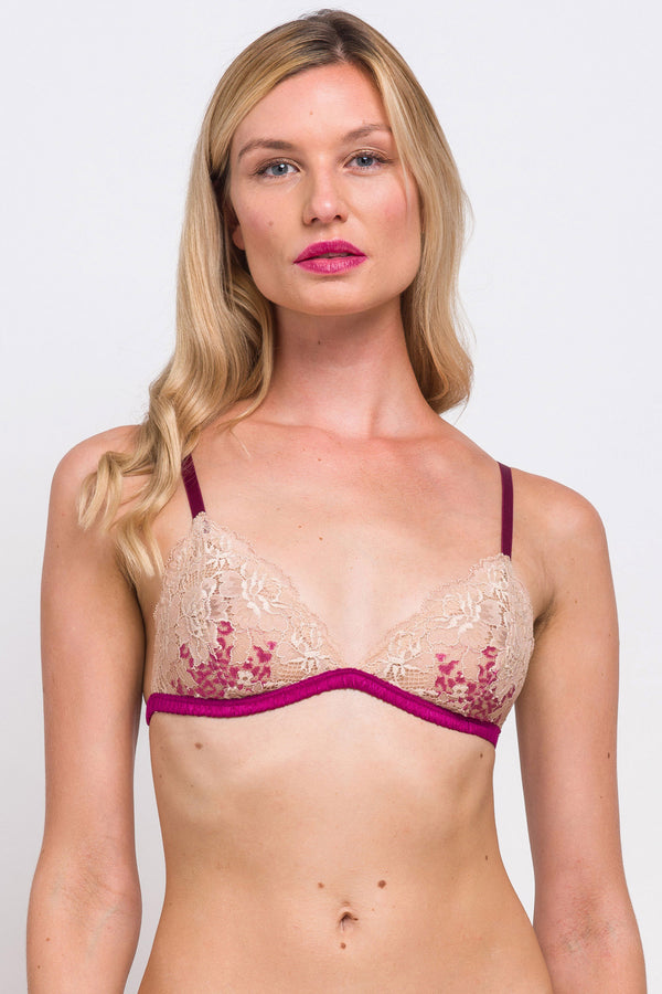 Bougainvillea bralette in magenta and blush pink lace