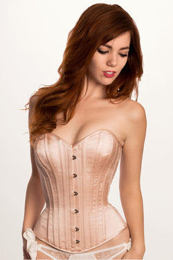 Brigitte corset in silk satin with steel boning in a Victorian style