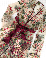 Floral embroidered robe and lingerie set with red silk bows and pink and green flowers