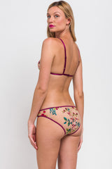 Floral embroidery and magenta trim lingerie set