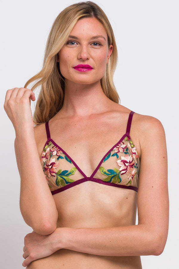Embroidered bralettes and lingerie sets by Angela Friedman