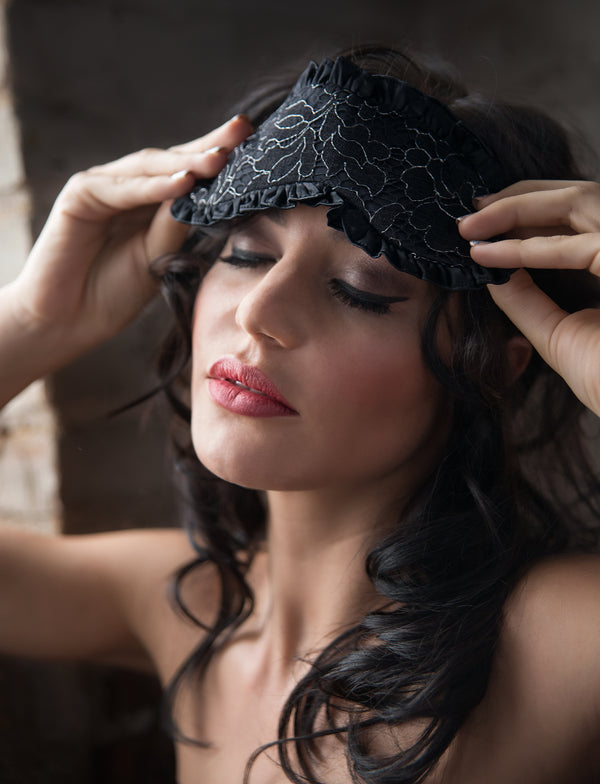 100% silk sleep mask with black and silver lace overlay and ruffles