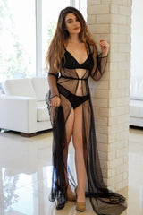 Retro lingerie set in black silk with a floor-length, tulle robe
