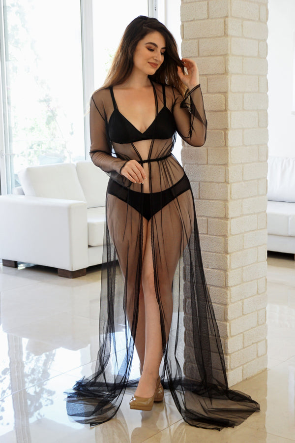 Floor length sheer tulle robe with 100% silk vintage-style lingerie set