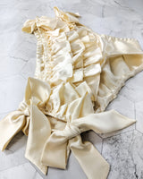 Satin ruffled panties in cream 100% pure silk