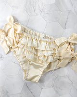 Vintage style satin ruffled knickers in cream 100% silk satin