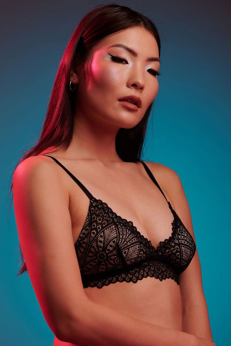 Dahlia black lace bralette with beige silk lining