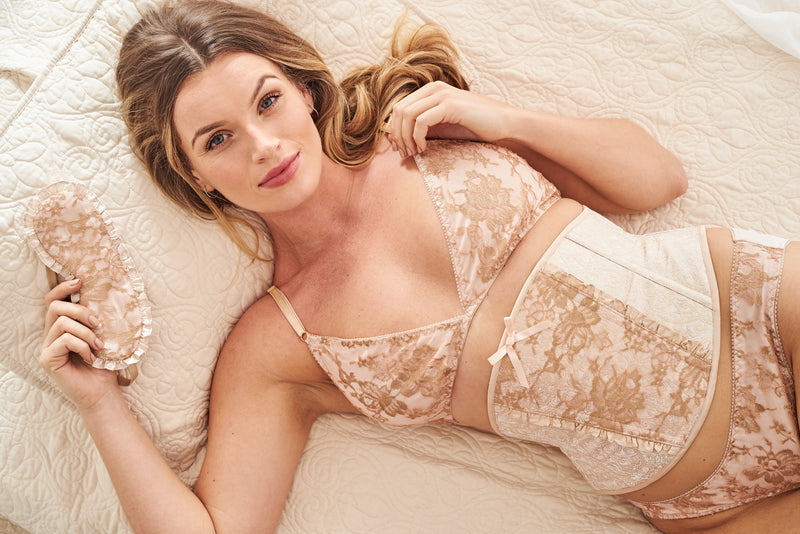 Vintage-inspired blush pink lingerie set by British designer Angela Friedman